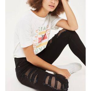 NWT TOPSHOP Jamie Black Fishnet Rip Skinny Jeans